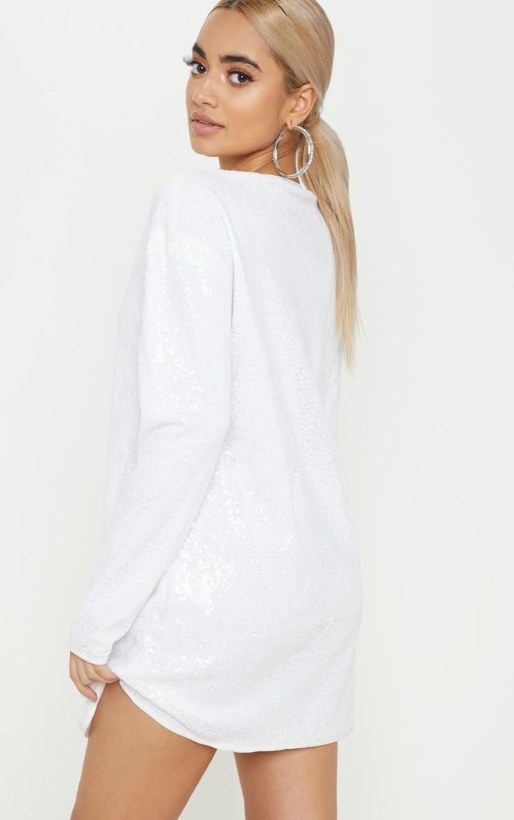 Petite White Sequin Long Sleeve Shift Dress 2