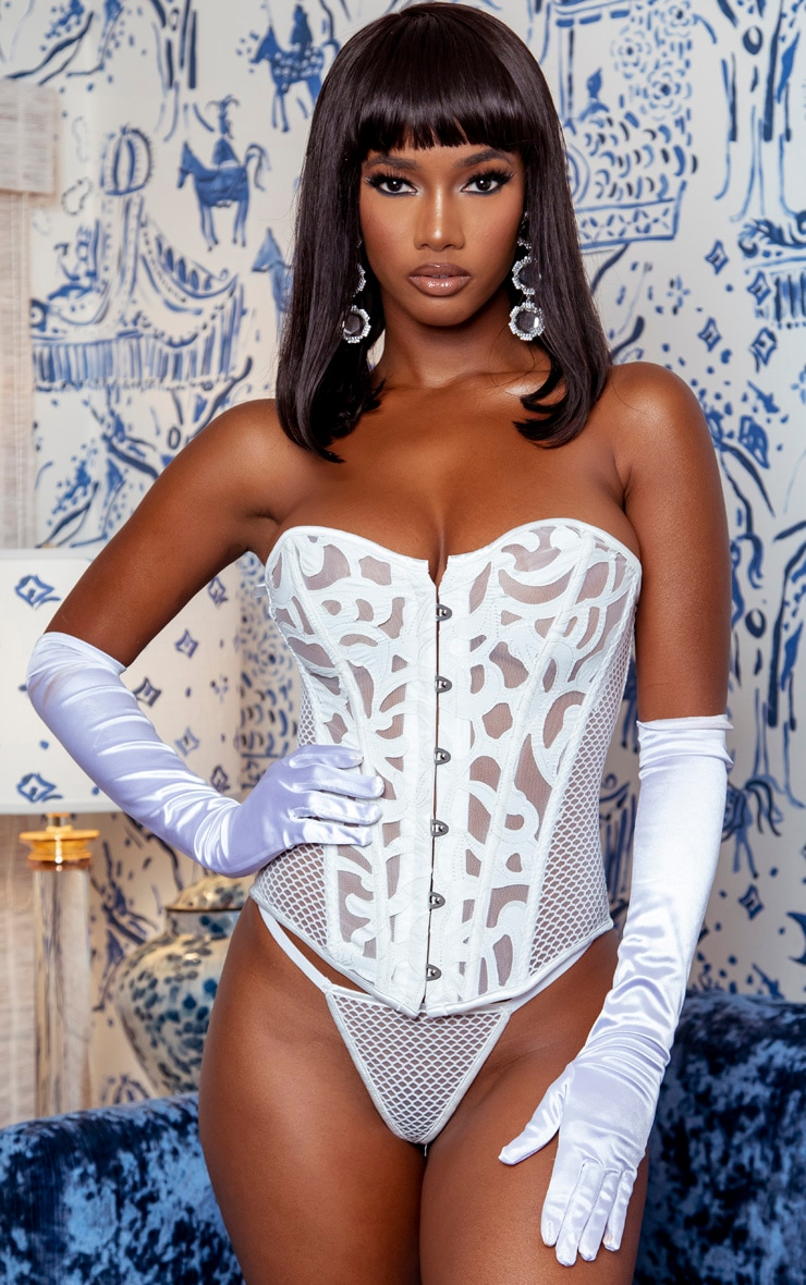 White Textured Mesh Ribbon Back Corset