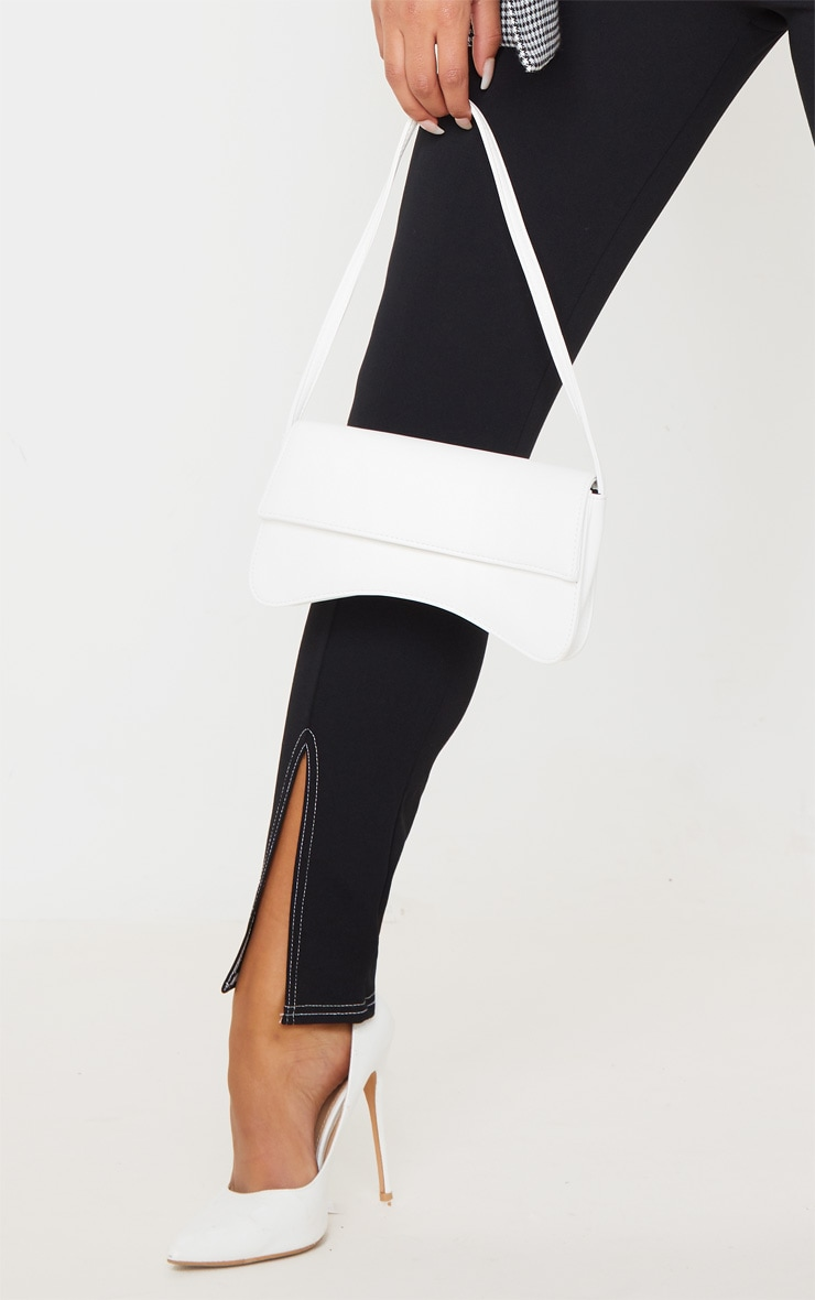 Black Contrast Stitch Split Front Leggings 5