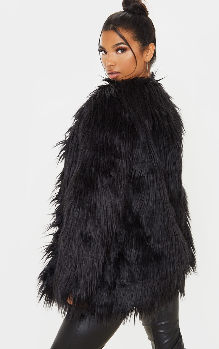 Amaria Black Shaggy Faux Fur Jacket 2