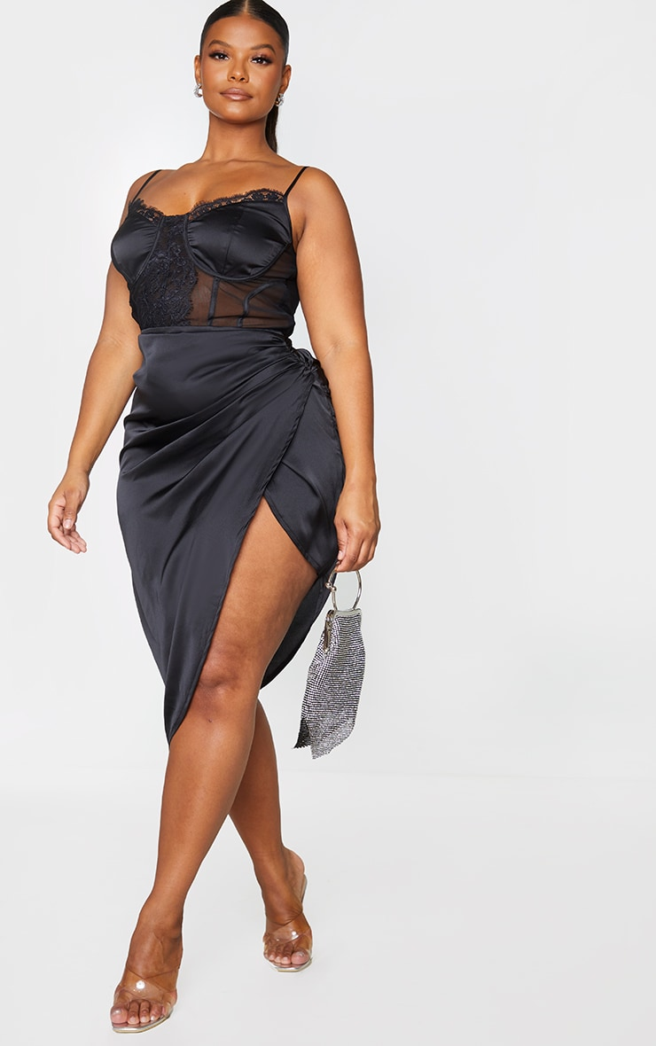 Plus Black Lace Insert Cup Detail Ruched Side Midi Dress 1