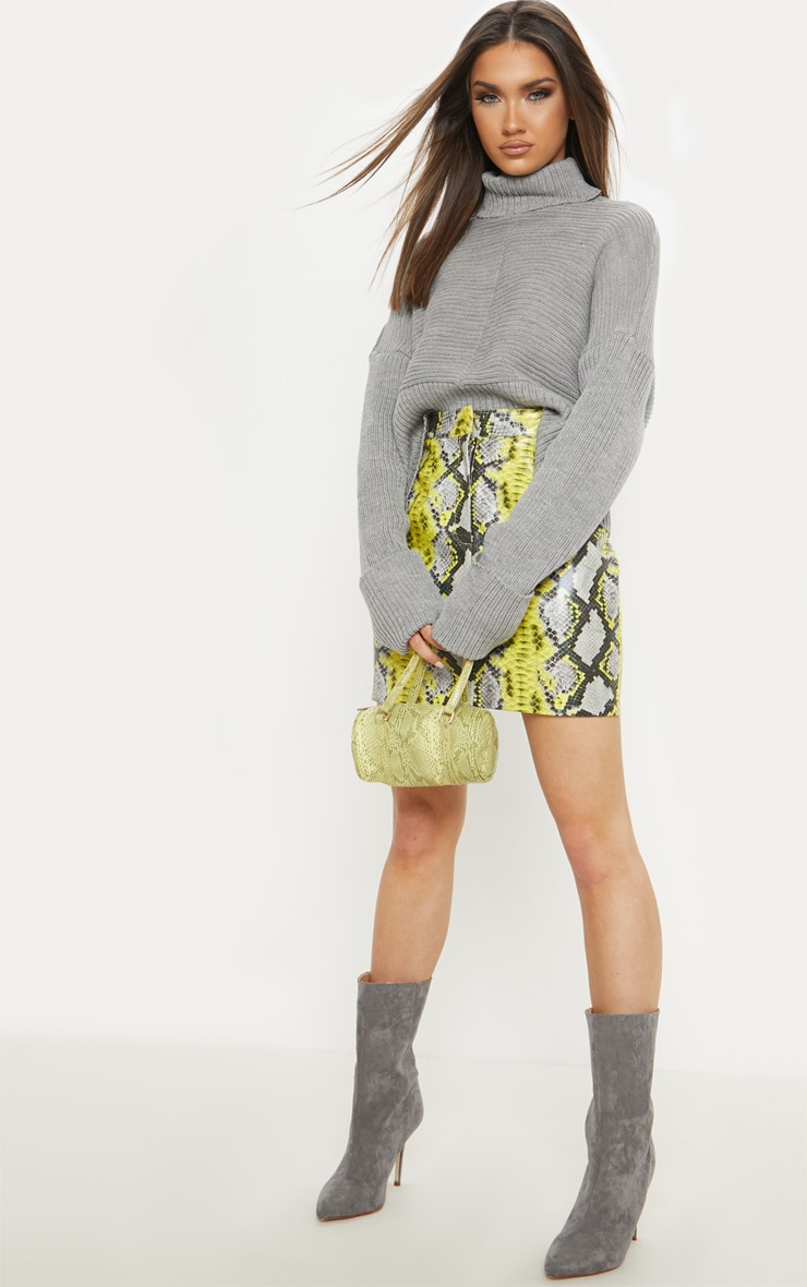Grey Chunky Ribbed Knitted Jumper  1