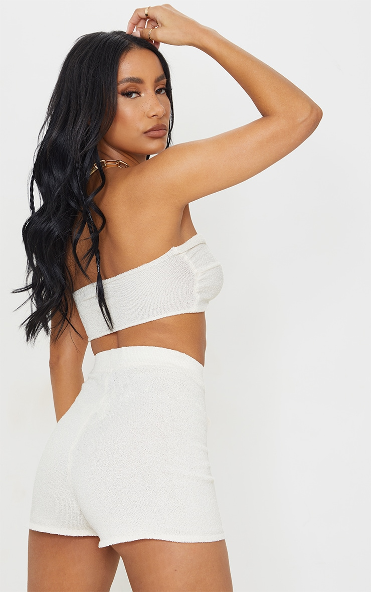 Cream Twist Front Towelling Knit Bandeau Top 2