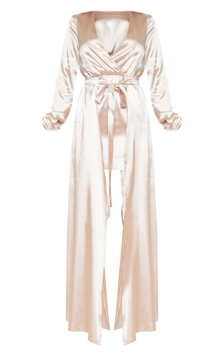 Champagne Satin Plunge 2 in 1 Maxi Dress 3