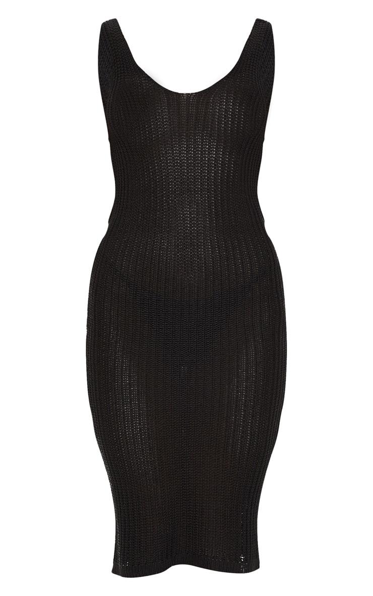 Robe mi-longue en maille tricot noire à col en V et dos torsadé 5