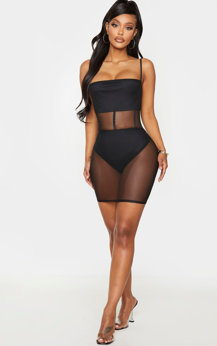 Shape Black Mesh Binding Detail Bodycon Dress 3