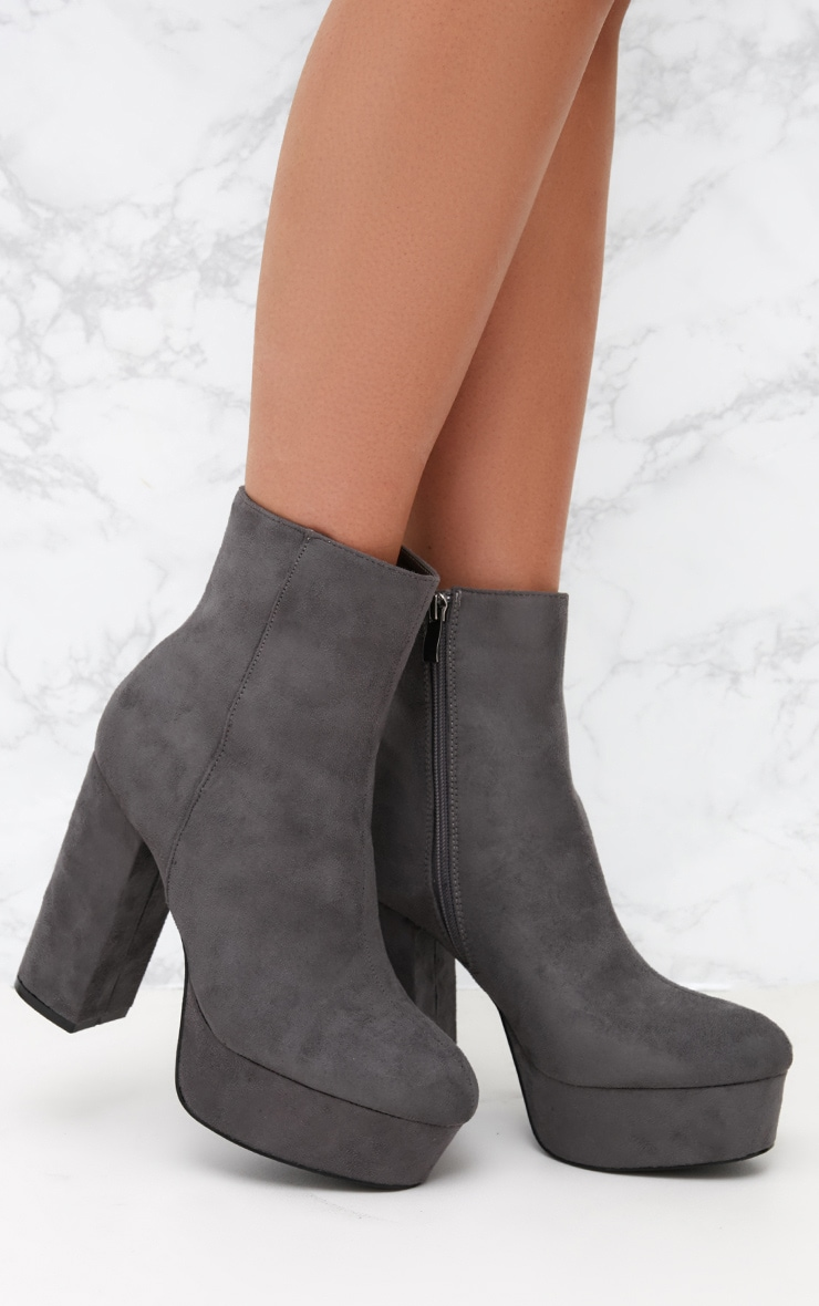 Grey Faux Suede Block Heel Ankle Boot 1