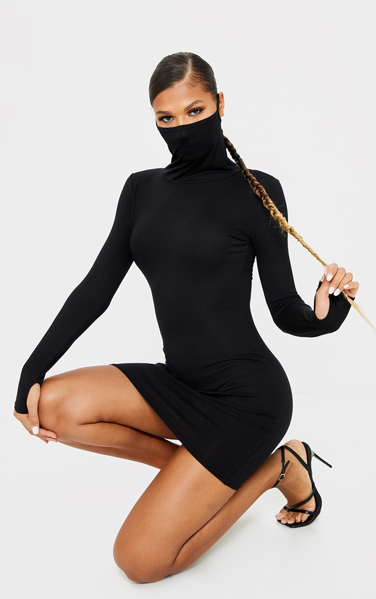 Black Jersey Long Sleeve Mask Bodycon Dress 1