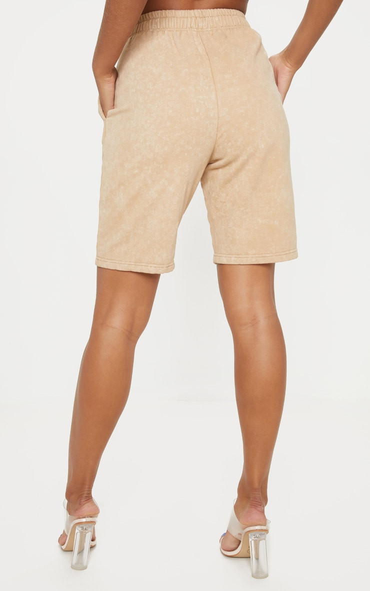 Taupe Washed Sweat Longline Short  4