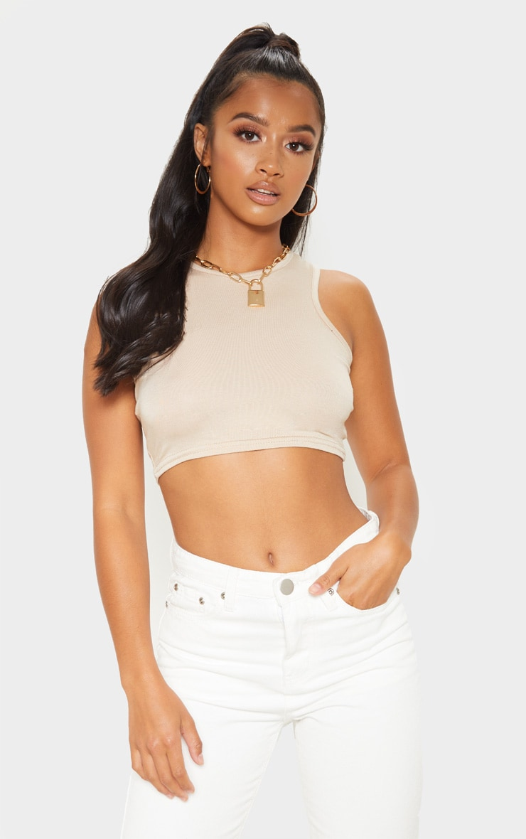 Petite Biscuit Cropped Basic Jersey Racer Vest 1
