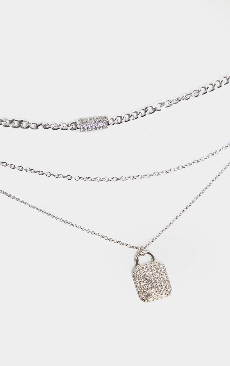 Clear Pave Tag Multi Layering Necklace 2