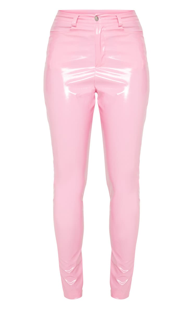 Candy Pink Button Front Vinyl Skinny Trouser 3