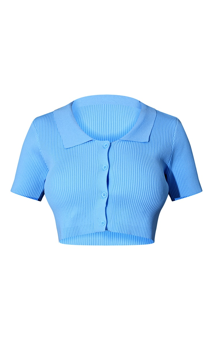 Baby Blue Ribbed Collared Button Up Knitted Short Sleeve Cardigan 5