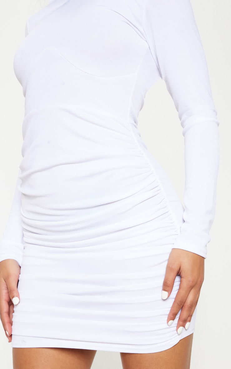 White Long Sleeve High Neck Ruched Side Bodycon Dress 4