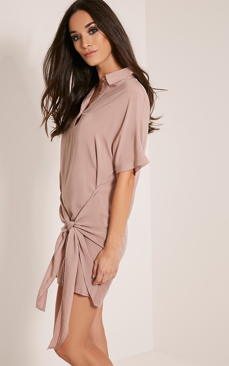 Chessca Nude Tie Front Shirt Dress 4