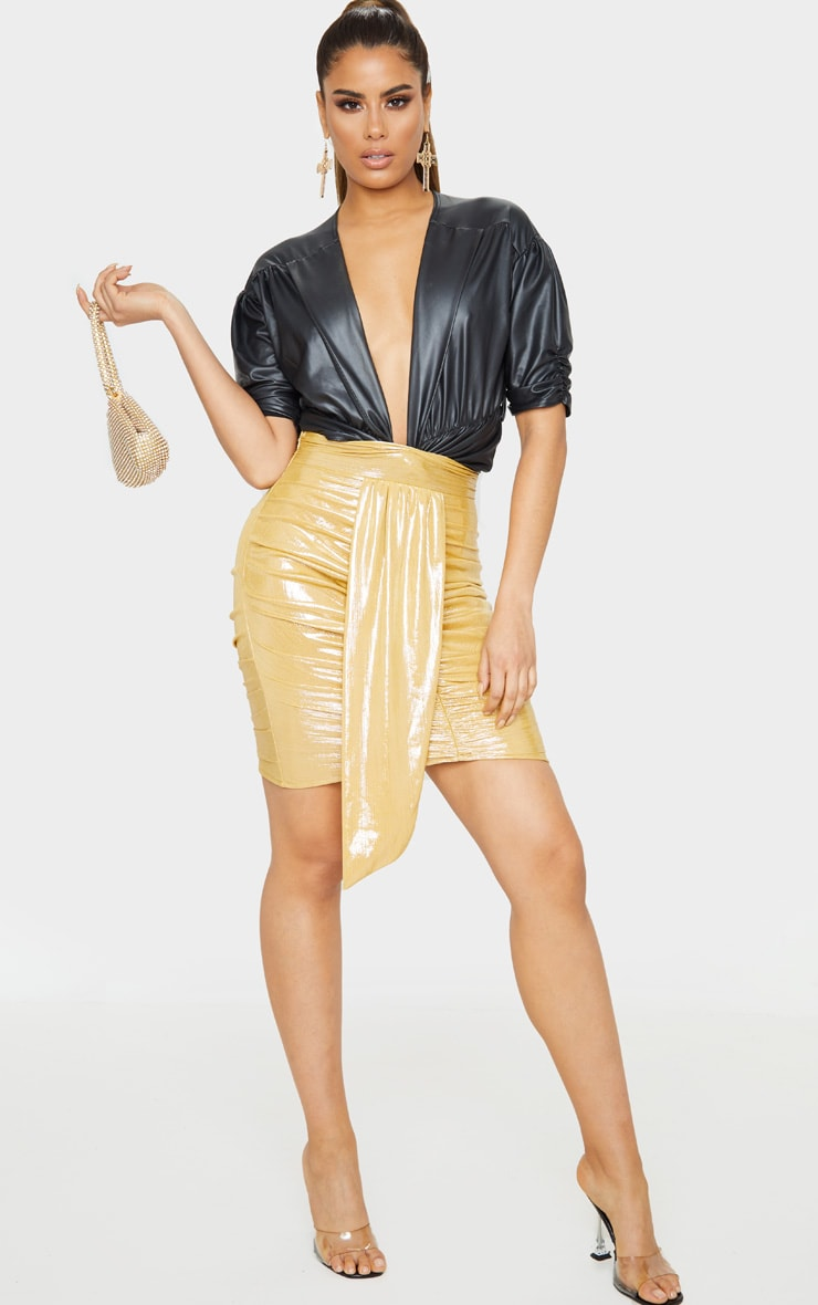 Tall Gold Metallic Drape Detail Ruched Mini Skirt 5