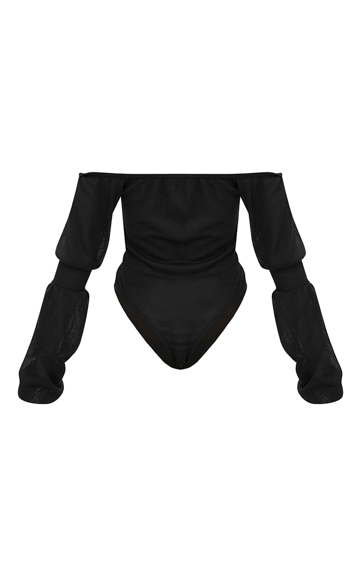 Black Bardot Ruched Balloon Sleeve Thong Bodysuit 4