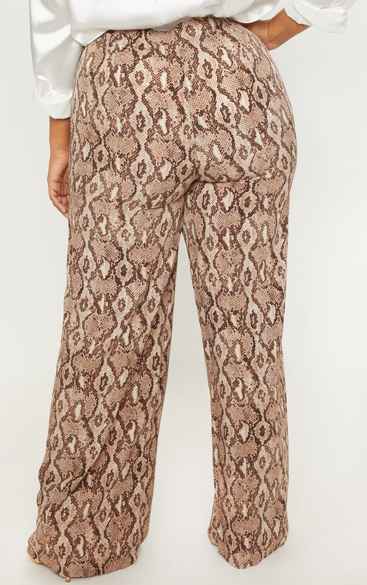 Plus Taupe Snake Print Wide Leg Pants  2