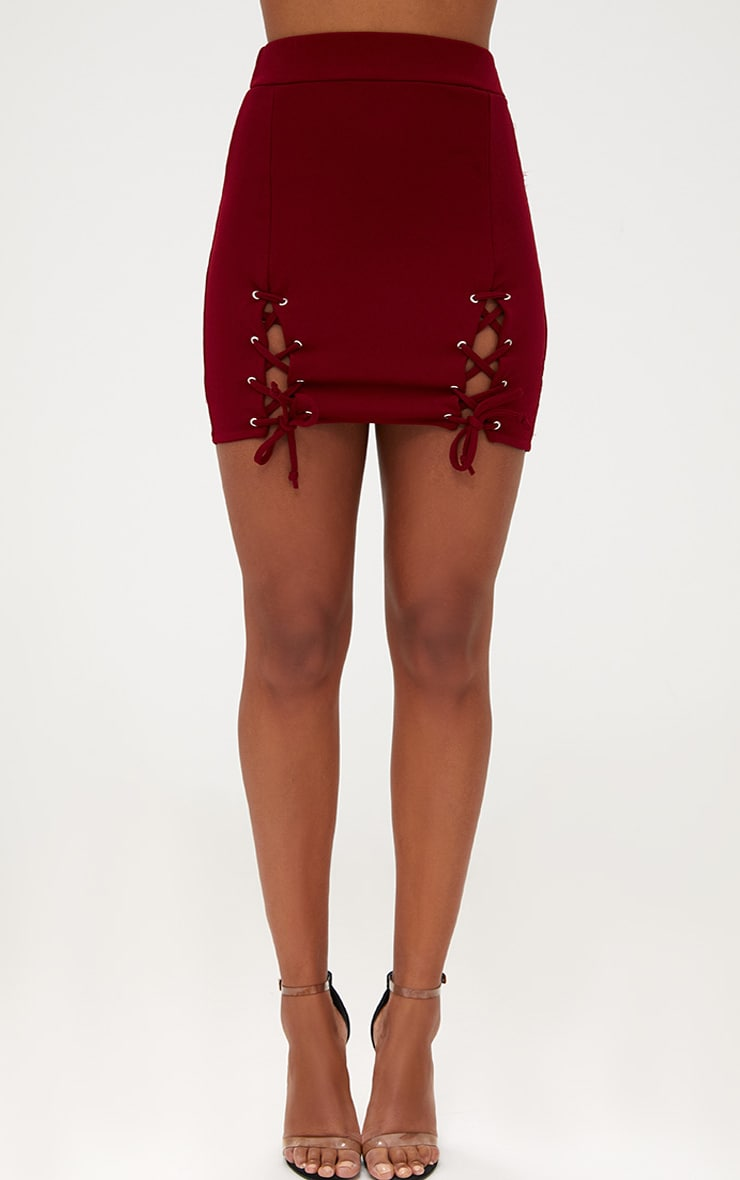 Burgundy Double Split Lace Up Mini Skirt 2
