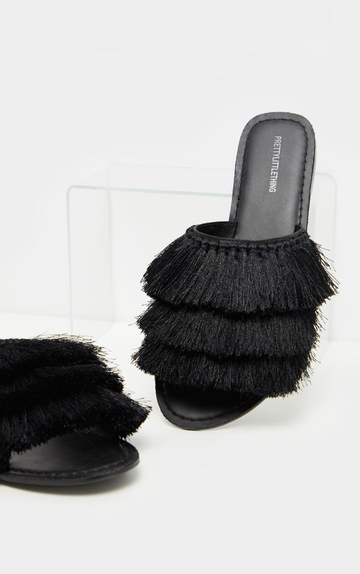Black Fringe Mule Sandal 1