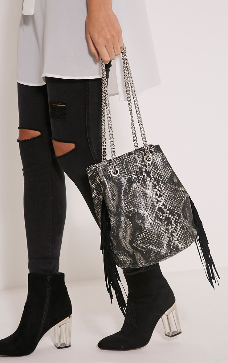 Zatara Grey Snake Print Bucket Bag 2