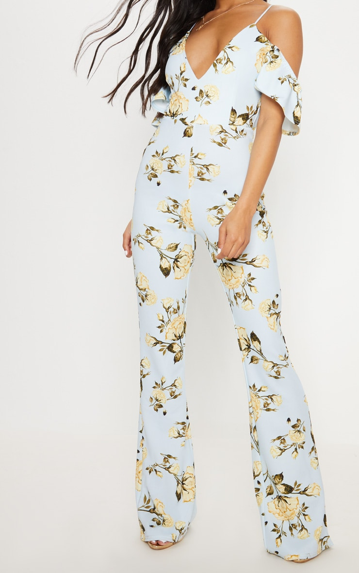 Blue Floral Printed Cold Shoulder Jumpsuit 5