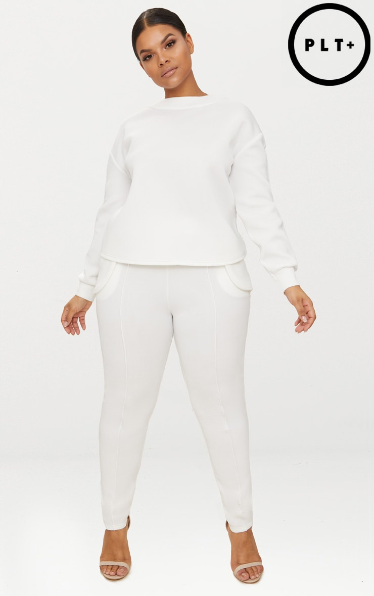 Plus White Scuba Roll Hem Joggers 1