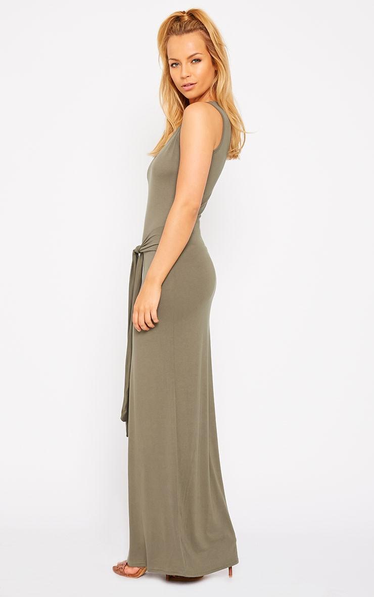 Annie Khaki Tie Front Maxi Dress 4