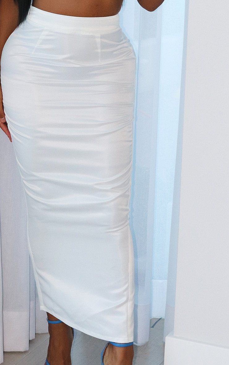 Shape White Satin High Waist Midi Skirt 4