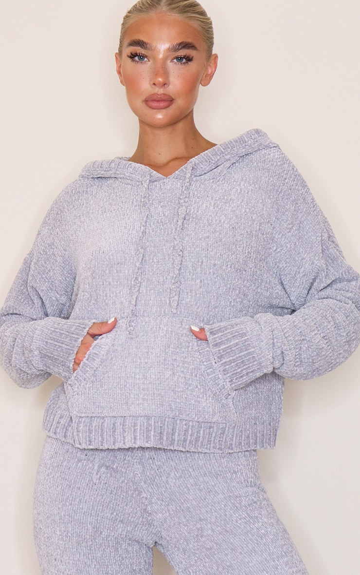 Grey Chenille Pocket Hoodie 1