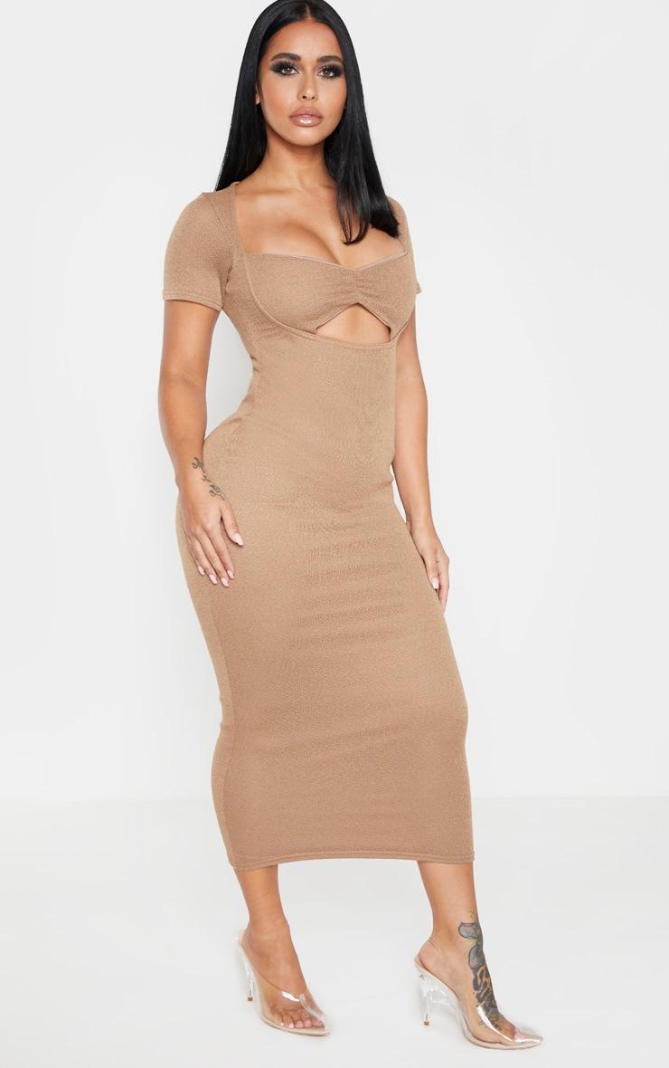 Shape Mocha Knitted Twist Front Midi Dress 1