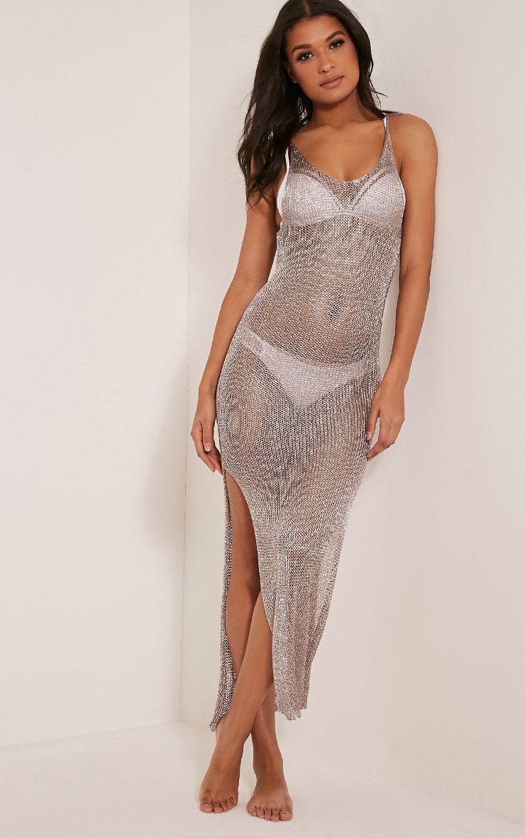 Denika Pewter Metallic Knit Maxi Dress 5