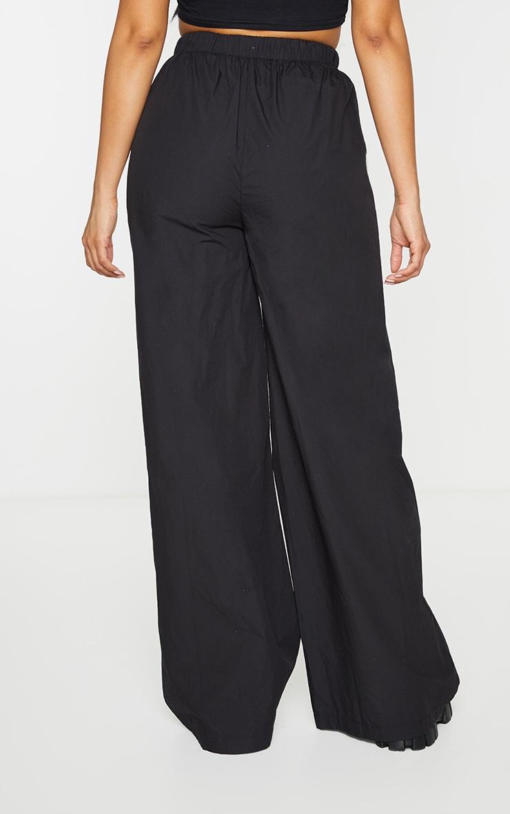 PRETTYLITTLETHING Black Badge Detail Cotton Wide Leg Trousers 3