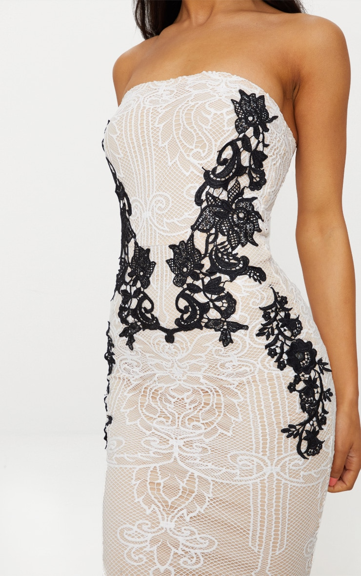 White Contrast Lace Bandeau Midi Dress 5