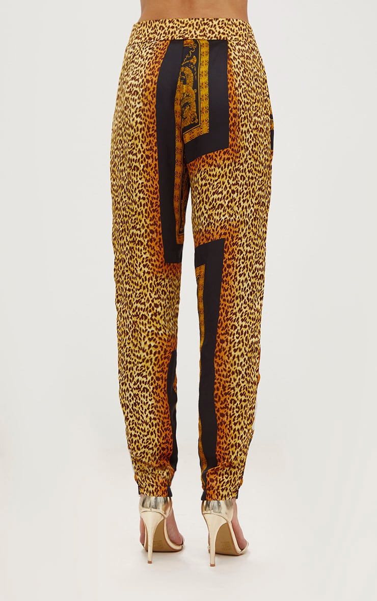 Black Satin Scarf Print Tailored Trousers 4