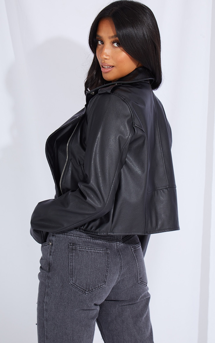 Petite Black PU Biker Jacket With Zips 2