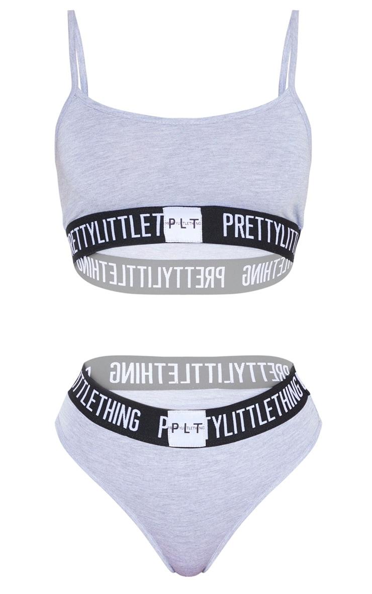 PRETTYLITTLETTHING Grey Jersey Logo Tape Lingerie Set 4