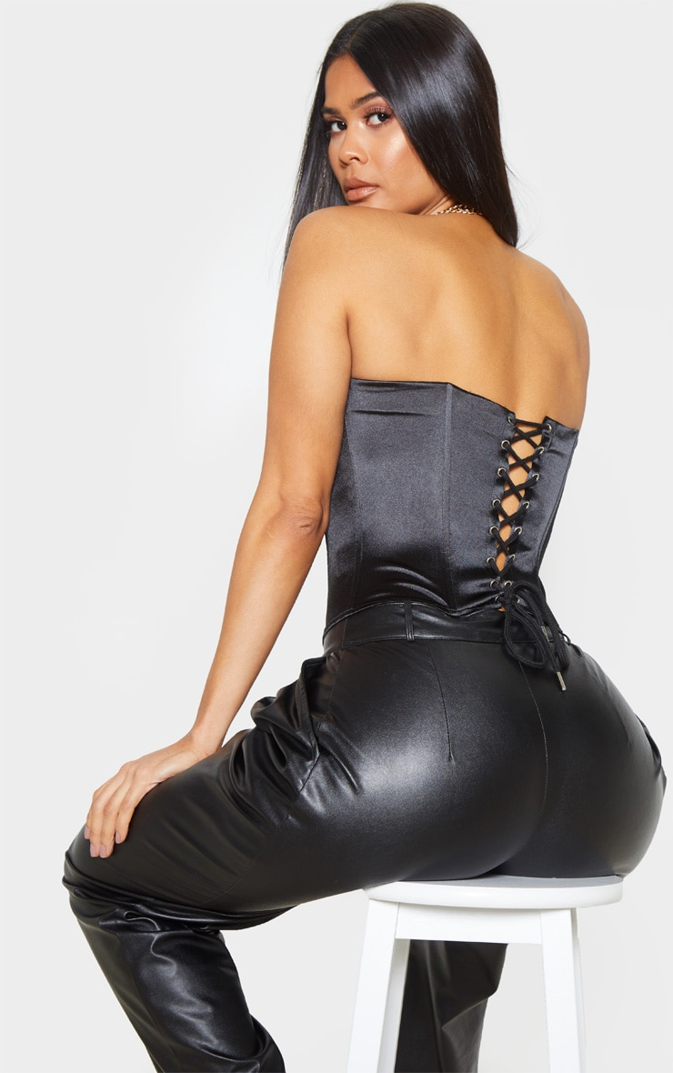 Black Satin Structured Lace Up Corset 1
