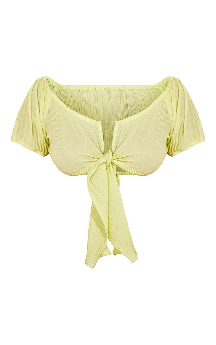 Lime Green Textured Linen Feel Tie Front Puff Sleeve Crop Top 5
