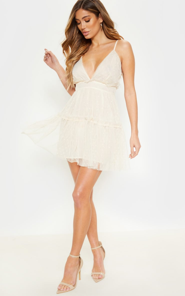 White Dobby Mesh Ruffle Skater Dress  1