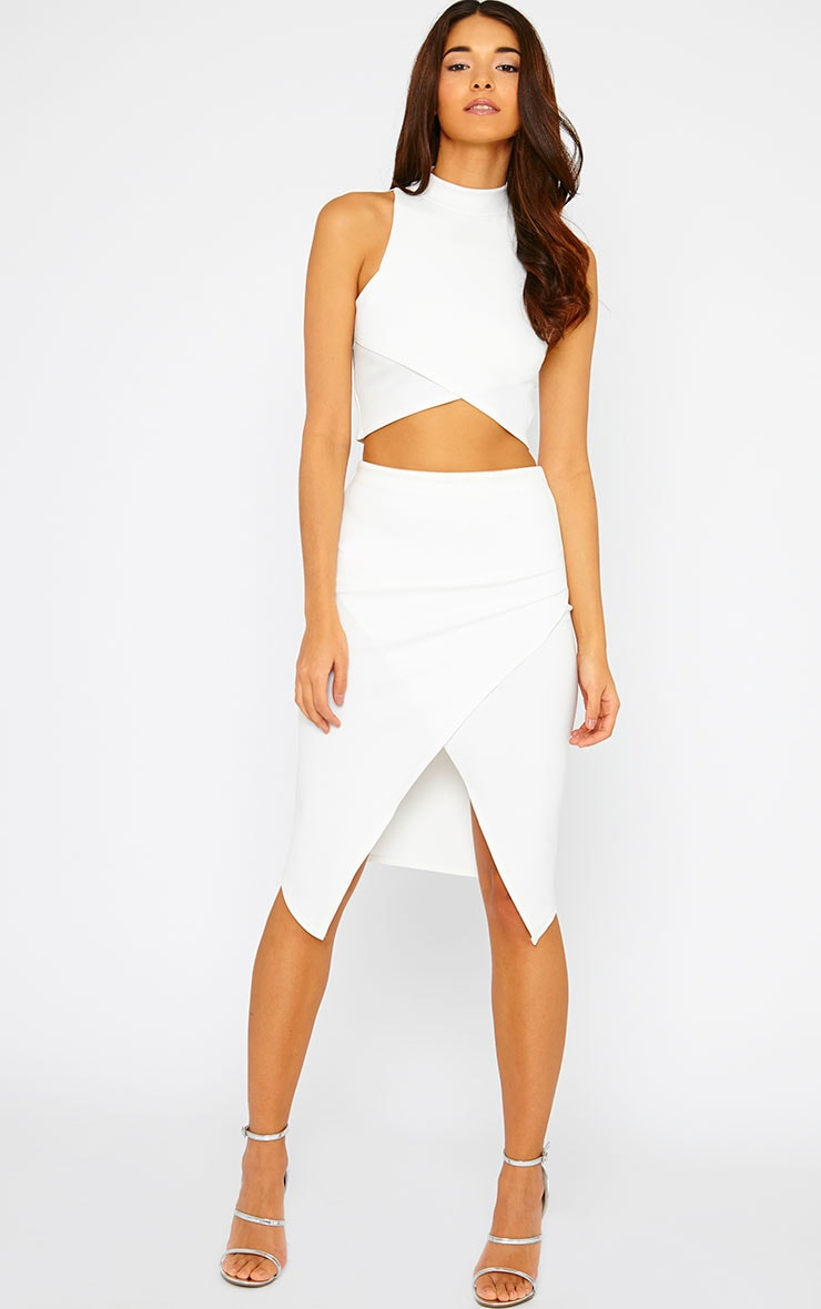 Lia Cream High Neck Wrap Crop Top 3