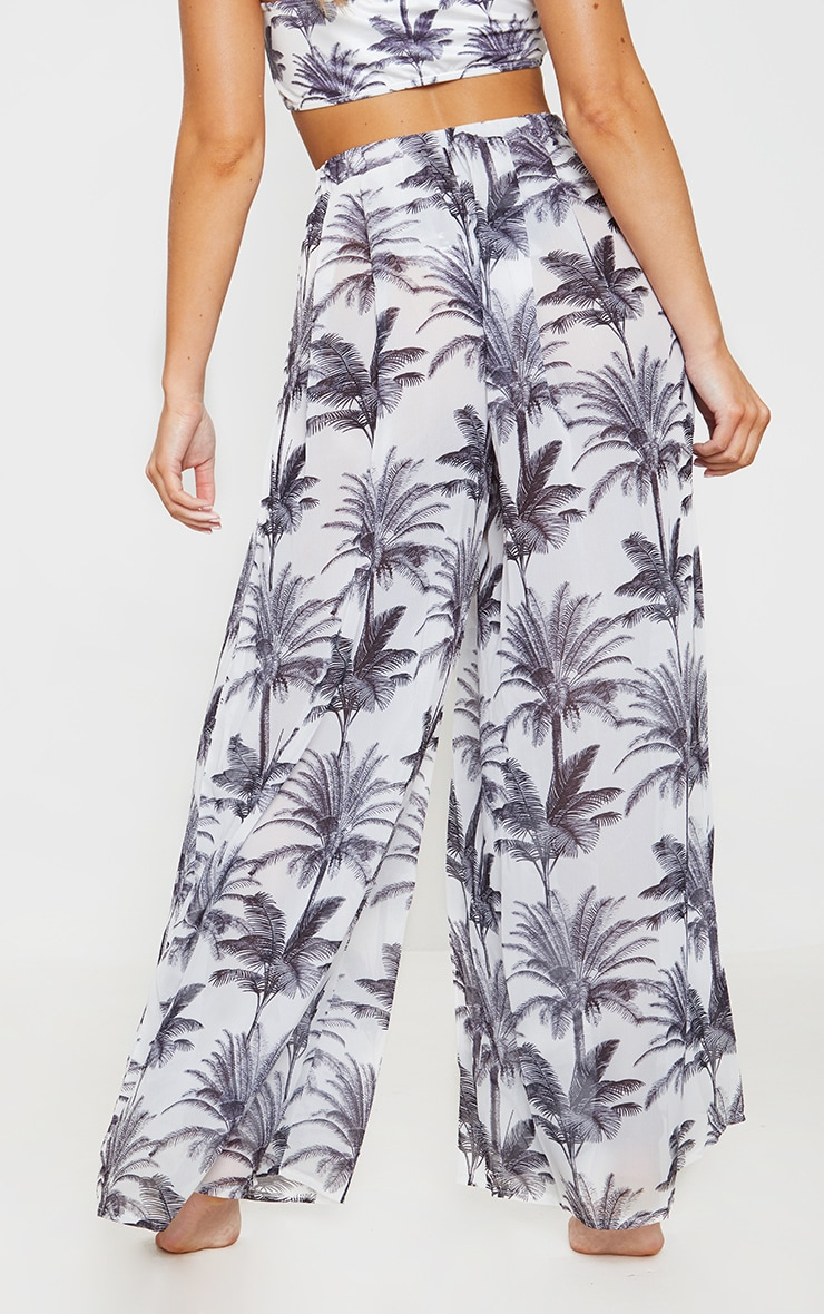 Monochrome Tropical Wide Leg Beach Pant 3