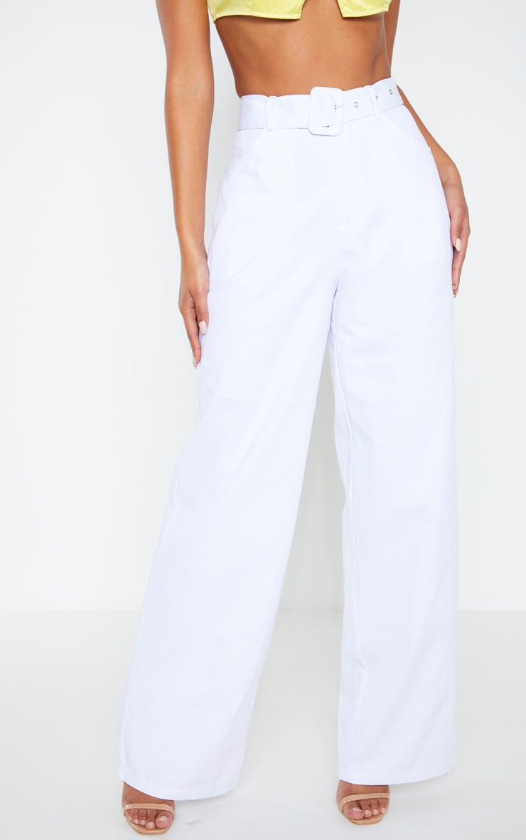 White Chambray Belted Woven Wide Leg Pants 4