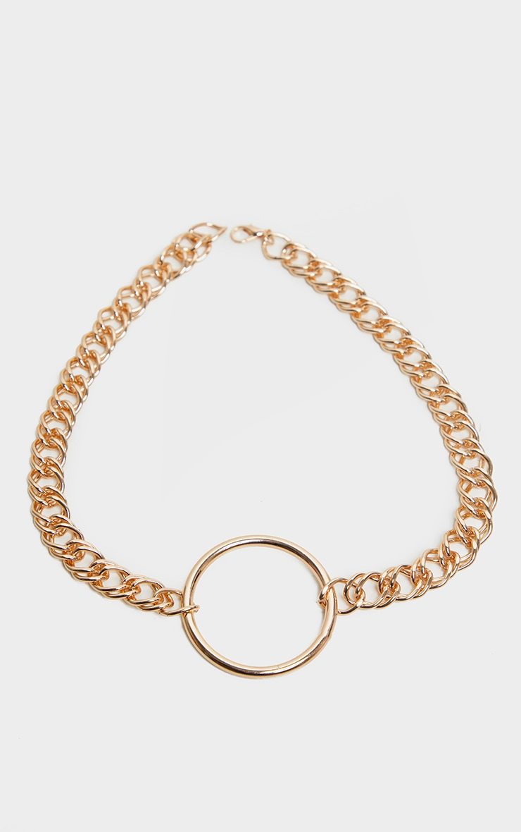 Gold Double Link Chunky Circle Necklace 2