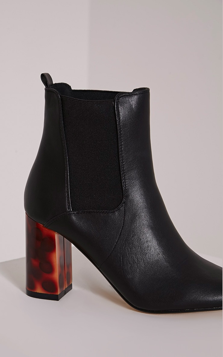 Lovia Black Tortoise Shell Block Heel Ankle Boot 5