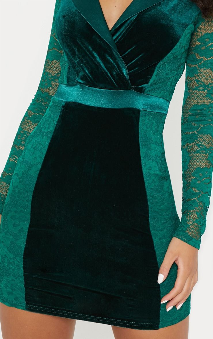 Emerald Green Lace Velvet Blazer Bodycon Dress 5