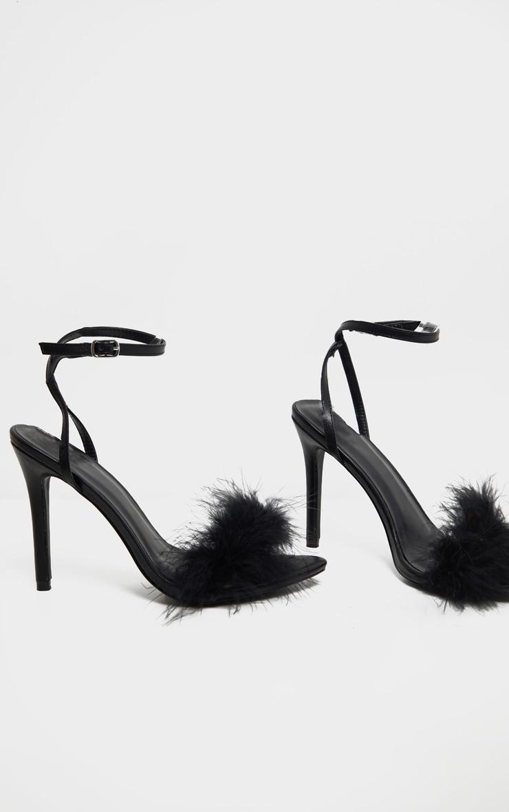 Black Feather Strap Heeled Sandal 3