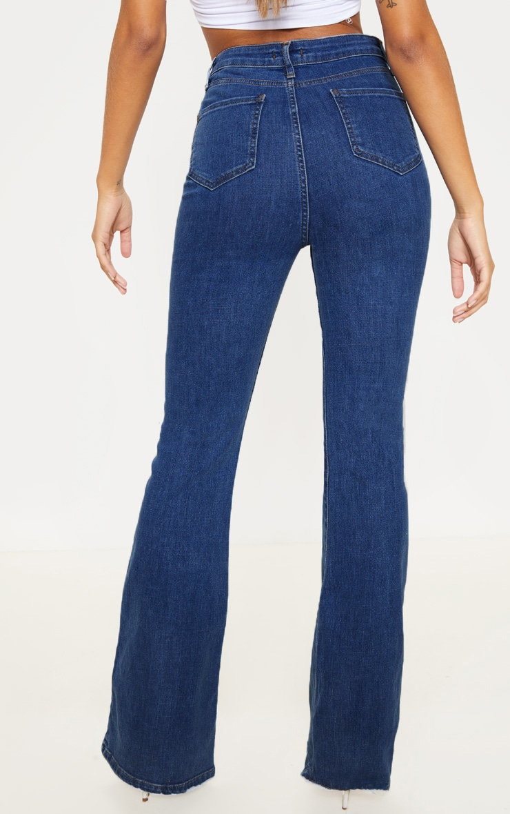 Mid Wash High Waisted Stretch Flare Jean 4