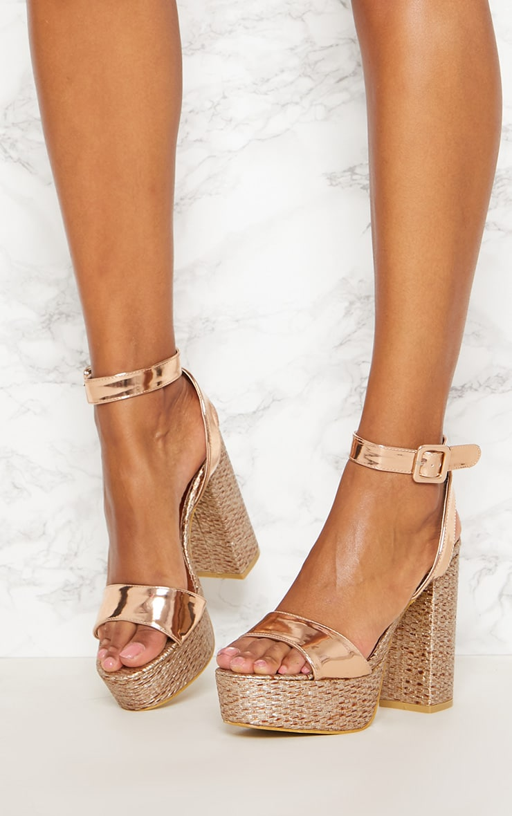 Sandales espadrilles à plateformes dorées 2
