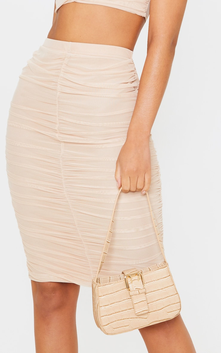 Nude Mesh Ruched Midi Skirt 5